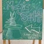 Magic Scott line starts here chalk drawing