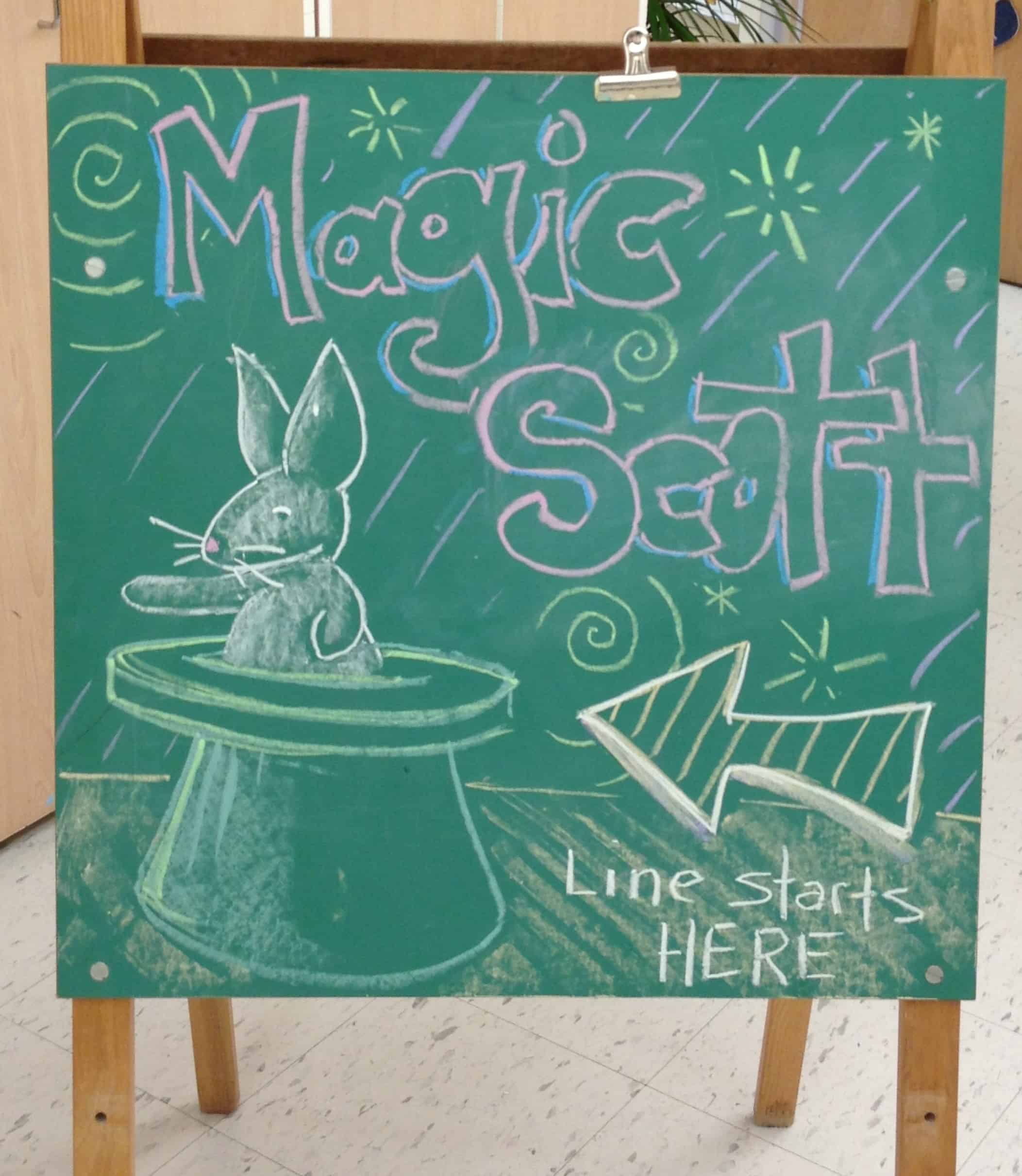 Magic Scott line starts here chalk drawing